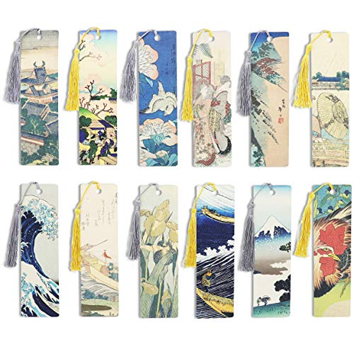 Tassel Bookmarks, Katsushika Hokusai Art (7 x 2 in, 24 Pack)