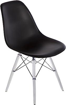 Stilnovo The Mid-Century Eiffel Dining Chair, Clear Leg/Black Top