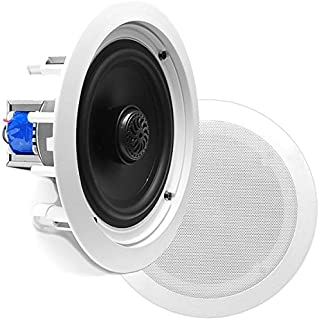 "6.5"" Ceiling Wall Mount Speakers - Pair of 2-Way Midbass Woofer Speaker 70v Transformer 1"" Titanium Dome Tweeter Flush Design w/ 65Hz-22kHz Frequency Response & 250 Watts Peak - Pyle PDIC60T"