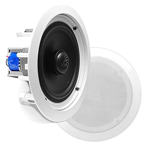 "6.5"" Ceiling Wall Mount Speakers - Pair of 2-Way Midbass Woofer Speaker 70v Transformer 1""..."