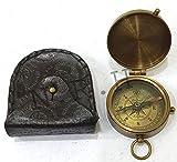 Brújula de bolsillo de latón con grabado náutico con funda de cuero magnético direccional