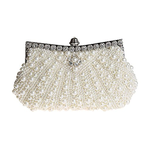 HONGCI Elegant Perle Strassstein Damen & Ladies Clutch Bag \ Clutch Evening Bag \ Bridal Bag \ Wedding Clutch Tasche Handtasche (Beige)