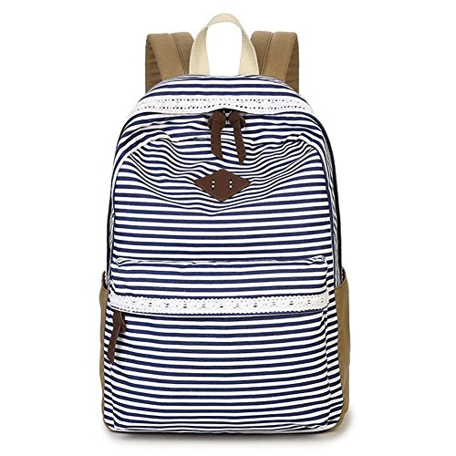 SANNU Casual Rucksack für Mädchen Teens, gestreiften Canvas Rucksack Cute School Book Bag (Blau)