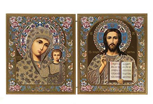Unbekannt Ikone 2 Fach Heiliger Muttergottes Heilende Jesus 30x18 cm