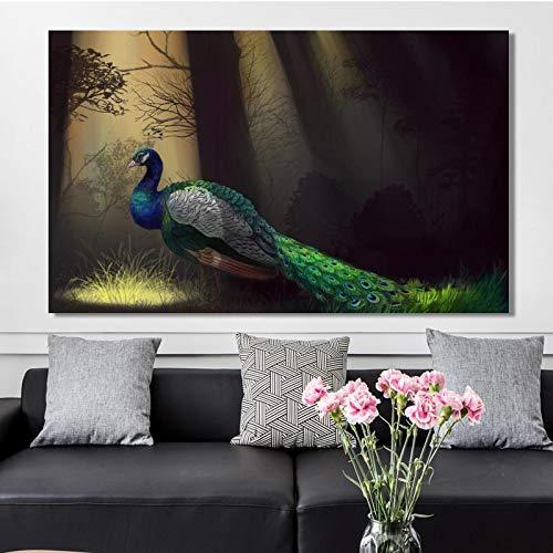 Cuadro moderno de la lona de la pintura de los animales y de las impresiones del arte de la pared hermoso del pavo real imágenes para la decoración del hogar de la sala de estar - 70x110 sin marco