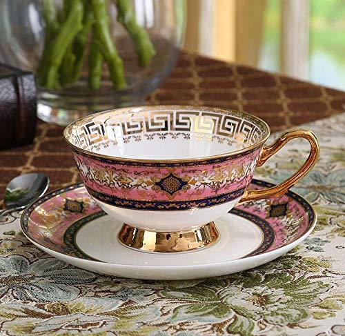qnmbdgm Koffiemok in Europese stijl met Engels pak van Bone China theeset van keramiek, liefhebbers van keramiek, een mok met rode theekoppen