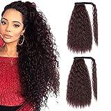 YMHPRIDE 2 pièces 24 pouces Long Brown Brown Curly Ponytail Holder Extension de cheveux Wrap Around Ponytail Extensions Clip synthétique dans Ponytail Hair Extensions Postiche pour femmes