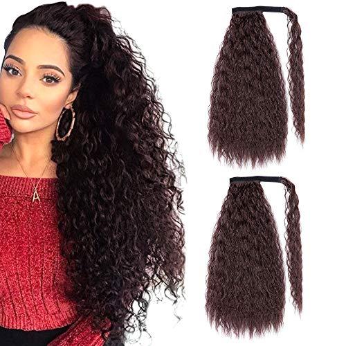 YMHPRIDE 2 Stück 24 Zoll lang Braun Lockiger Pferdeschwanzhalter Haarverlängerung Wickeln Sie sich um Pferdeschwanzverlängerungen Synthetischer Clip in Pferdeschwanz Haarverlängerungen für Frauen