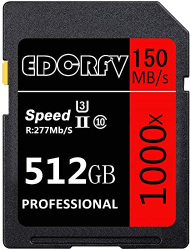 EDCRFV 512GB 1000X UHS-I U3 SDXC Memory Card Speed up to Max R277MB S, W150MB S with SD Adapter(512GB-150M)