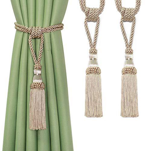 Fenghuangwu 2PCS Curtain Tassel Tiebacks, Handmade Tassels Curtain Tie-Backs Rope Holdbacks for Home Office Decor-Beige