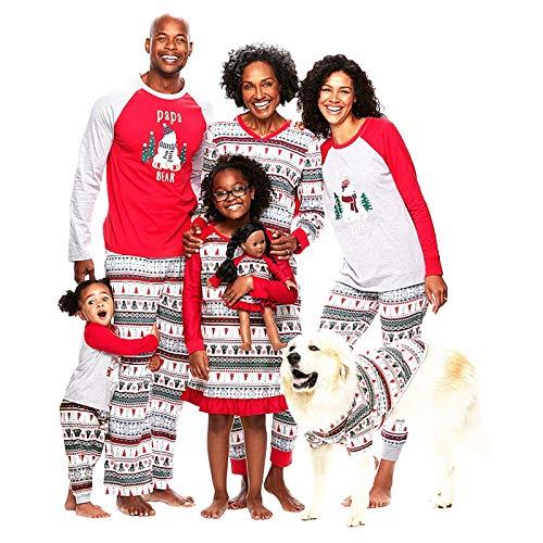 huateng Conjunto de Pijamas navideños - Árbol de Navidad Impreso Manga Larga Tops + Pantalones Xmas Familia Matching Ropa Outfit