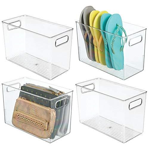 mDesign 4er-Set Aufbewahrungskiste mit integrierten Griffen – praktische Box zur vielseitigen Verwendung – ideal zur Kleideraufbewahrung, für Schuhe, Spielzeug etc. – durchsichtig