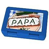 printplanet Brotdose mit Namen Papa, Motiv Brotscheibe , Lunchbox mit Namen, Brotdose Blau - Frühstücksdose Kunststoff lebensmittelecht