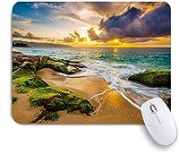 ECOMAOMI 可愛いマウスパッド 美しいハワイのビーチの夕日の風景 滑り止めゴムバッキングマウスパッドノートブックコンピュータマウスマット