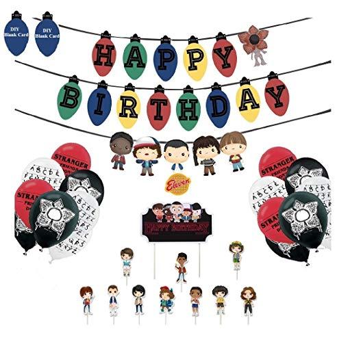 Ginkago Decoración de cumpleaños Set, Cake Happy Birthday Banners & Birthday Cake Cupcake Toppers & Globos de Látex Pary Supplies para Fiesta temática Infantil (B)