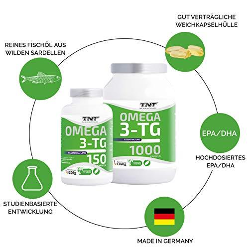 TNT Omega 3-TG │ Hochwertige und essentielle Fettsäuren │ Fischölkapseln mit EPA und DHA unterstützen die Gesundheit, Fitness und das Immunsysstem │150 Kapseln - 6