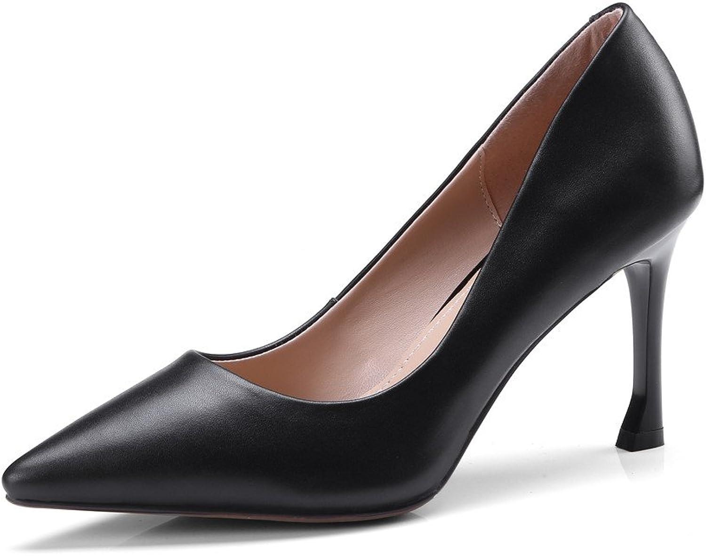 Nine Seven Genuine Leather-Women's Pointed Closed Toe-High Stiletto Heel-Classic Slip On Handmadel Business Pumps