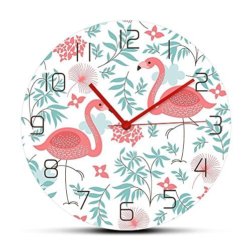 GAVA Reloj de cocina rosa flamenco nuevo nórdico moda impreso acrílico reloj de pared elegante cuarzo mute pared colgante reloj moderno diseño decoración del hogar