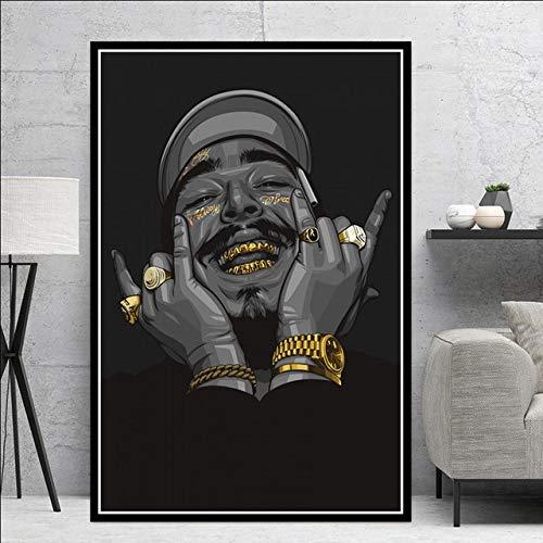 hllhpc Wall Art- Póster y Impresiones Post Malone Hip Hop Rapero Cantante de música Estrella Arte Abstracto Pintura Pared Cuadros para Sala de Estar hogar decoración