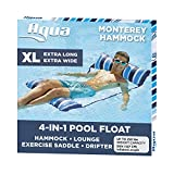 Aqua 4-in-1 Monterey Hammock XL (Longer/Wider) Inflatable Pool Chair, Adult Pool Float (Saddle, Lounge Chair, Hammock, Drifter), Water Hammock, Navy/White Stripe