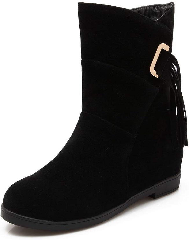 BalaMasa Womens Nubuck Pleated Fringed Urethane Boots ABL10789