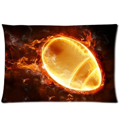 Mina-Shop Flaming American Football One Side Polyester Pillowcase 20x30 Inch
