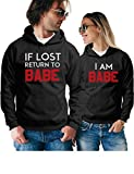 If Lost Return to Babe & I Am Babe Matching Couple Hoodies - Pullover Sweatshirts - His and Hers Outfits