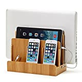XPhonew Bamboo Desktop Charging Dock Station Charger Stand for iPhone iPad Smartphone Tablet