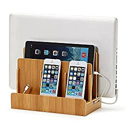 XPhonew Desktop Bambus Holz Ladestand Aufladung Docking Station / Cradle / Halter / Ladegerät Stand / Handy Halterung Compatible iPhone XS MAX XR X 8 7 6S Plus iPad Laptop Samsung Smartphones Tablets