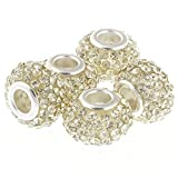 RUBYCA Big Hole Large Czech Crystal Charm Beads fit European Charm Bracelet (10pcs, Yellow, 15mm)