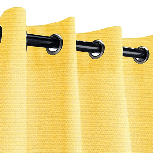 Sunbrella Canvas Buttercup Outdoor Curtain with Nickel Grommets 50 in. Wide x 84 in. Long