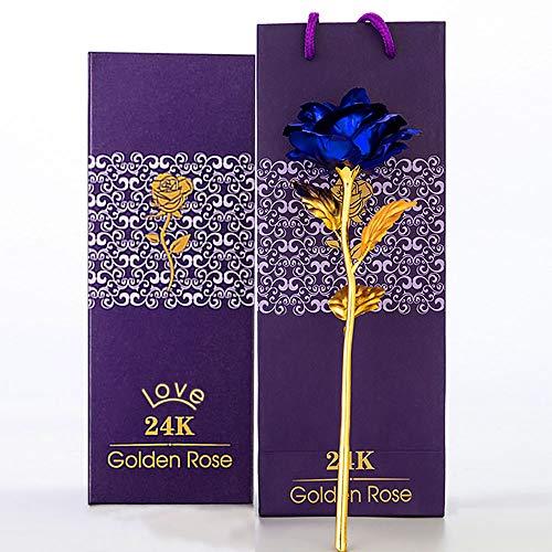 Rosa de oro azul de 24 quilates, hecha a mano, hojas de oro rosa, para San Valentín, caja de regalo y bolsa de regalo