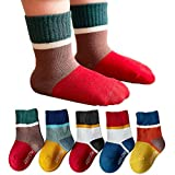 XIRUILANG 5 Pairs Kids Boys Girls Crew Socks Non Slip Skid Grips Sticky Slippery Cotton For Baby Children Youth Lucky 6-8Years