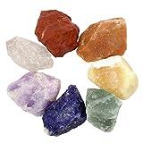CrystalTears - Set di 7 pietre naturali dei Chakra, pietre preziose sottoposte a baritura, pietre per la guarigione, cristalli dei Chakra per il Reiki e senza, colore: 5.00-5.49cm, cod. FPDE01845