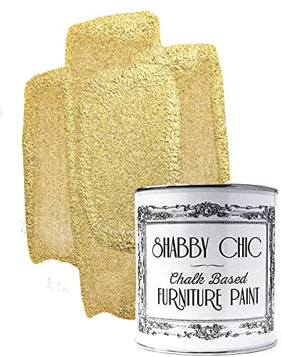 Shabby Chic Chalked Furniture Paint: Luxurious Chalk Finish Furniture and Craft Paint for Home Decor, DIY Projects, Wood Furniture - Interior Paints with Metallic Finish - 8.5oz - Antique Gold