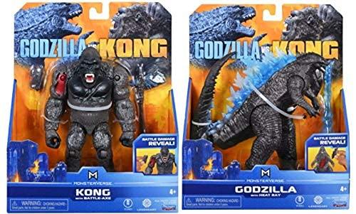 Godzilla vs. Kong 2021 Bundle of 2 Monsterverse Movie Series 6' Action Figures Kong with Battle Axe Godzilla Heat