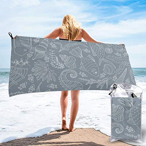 N/F Marine Gray Snail Scallop Fish Seahorse Starfish Creature Pattern Bath Towels Large Bath Towel Set Super Absorbent And Fast Drying For Bathroom And Beach 2 Sizes Customized