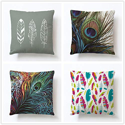 ZYFSKR Cotton Linen Pillow Covers Bench Cushion Sofa Covers Peacock Hand-Painted Feather Cushion Cover Sofa Bed Home Car Decor Soft Cushion 4 Pcs 45X45Cm