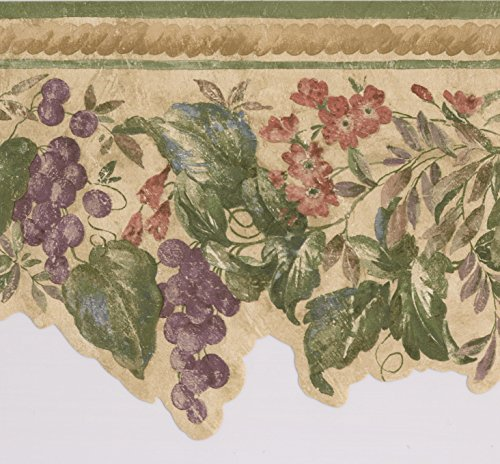 Lila Trauben rot Blumen auf Vine Vintage Floral Tapete Bordüre Retro Design, Rolle 15'x 22,9cm