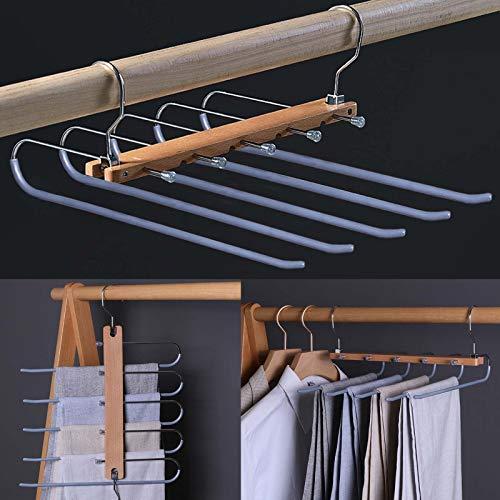 Faltbare platzsparende Hosenbügel, Edelstahl & Holz Hosenständer, rutschfeste 5 Schichten Jeans Kleiderbügel für Schrank Organizer (Silber)