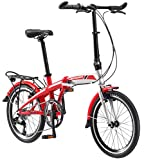 Schwinn Adapt 3 Folding Bike, 20-Inch Wheels, 9-Speed, Gloss Red/Silver
