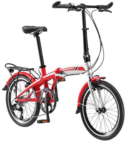Schwinn Adapt 3 Folding Bike, 20-Inch Wheels, 9-Speed, Gloss Red/Silver