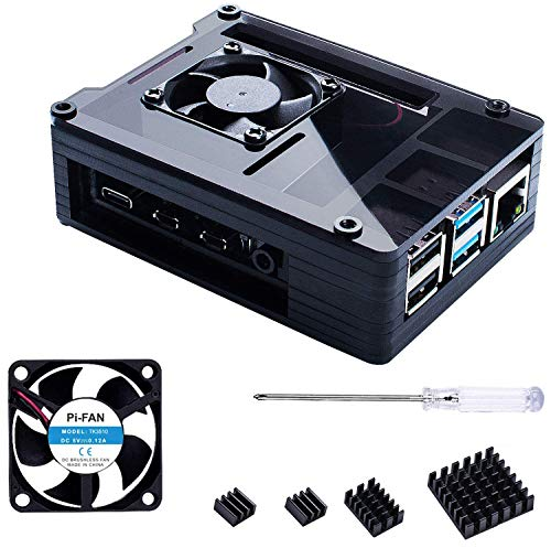 Bruphny Caja para Raspberry Pi 4, Caja con 35mm Ventilador,