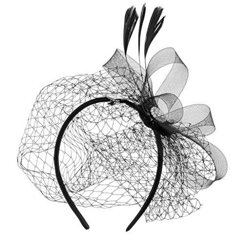 YO-HAPPY Banda de aro, Mujeres Fascinator Fiesta Velo Pluma Horquilla Sombrero Diamante...