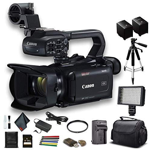 Canon XA40 Professional UHD 4K Camcorder (3666C002) W/Extra Battery, Soft Padded Bag, 64GB Memory Card, LED Light, UV Filter, Tripod and More Starter Bundle (Renewed)