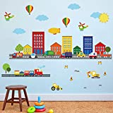 decalmile Wandtattoo Transporte Autos Fahrzeuge Wandsticker Städte Haus Wandaufkleber Kinderzimmer Wohnzimmer Schlafzimmer Wanddeko