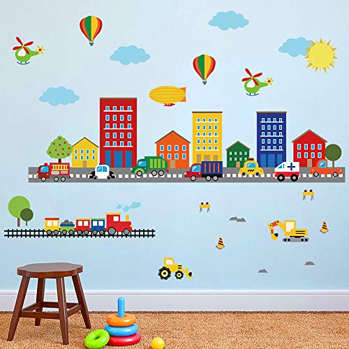 decalmile Pegatinas de Pared Transportes Carreteras Vinilos Decorativos Infantil Globo de Aire Caliente Niños Bebés Dormitorio Aula Vistoso Casa de la Ciudad Tema Adhesivos Pared