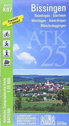 ATK25-K07 Bissingen (Amtliche Topographische Karte 1:25000): Reimlingen, Ederheim, Möttingen, Amerdingen, Mönchsdeggingen (ATK25 Amtliche Topographische Karte 1:25000 Bayern)