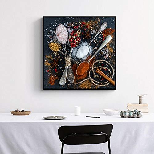 DLFALG Especias y cucharas de colores Imagen de arte de pared Impresión en lienzo Pinturas Carteles abstractos Cocina Comedor Decoración para el hogar-60x60cm Sin marco