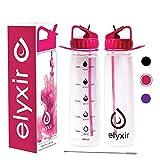 Elyxir-Trinkflasche mit Strohhalm & Reinigungsbürste| 900 ml Sport- Trinkflasche mit Zeit- & Volumenmarkierungen| BPA-freie Motivations-Trinkflasche für Wandern, Fitness & Fitnesstraining (Rosa)
